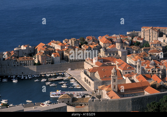 Dubrovnik Croatia Old Town Harbor - Stock Image