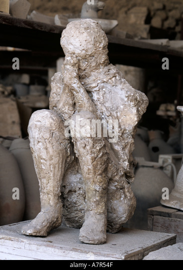 Plaster cast of Citizen of Pompei at archeology collection Pompei Italy - Stock Image