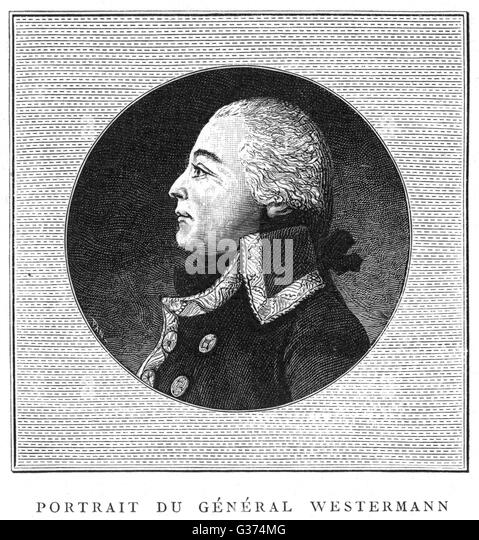 FRANCOIS-JOSEPH  WESTERMANN unscrupulous soldier and  thief, who acted without pity  to suppress the Vendee  resistance, - Stock Image