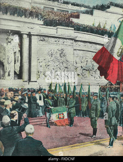 January 19 Monument to Vittorio Emanuele II - The apotheosis of our glorious army that fought in Libya  1913 - Stock Image