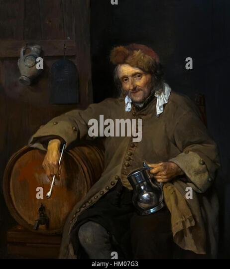 The Old Drinker, by Gabriel Metsu, circa 1661-63, oil on panel, Rijksmuseum, Amsterdam, Netherlands, Europe, - Stock Image