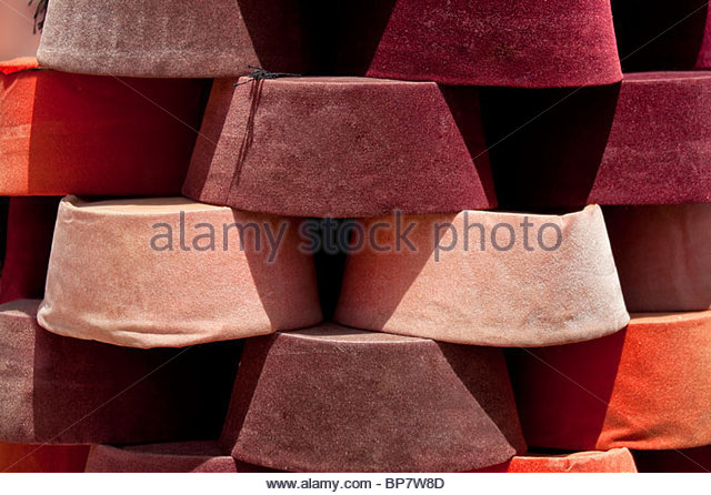 muslim hats pilled up - Stock Image