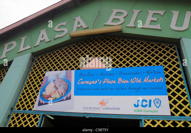 Curaçao Netherlands Antilles Dutch Willemstad Punda De Ruyterkade Plasa Bieu Old Market Plasa Bieu entrance - Stock Image