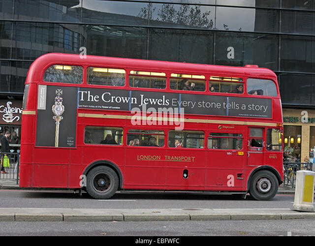 Red London Transport classic Routemaster  bus, England, UK - Stock Image