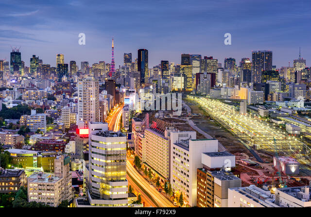 Tokyo, Japan cityscape over Shinagawa. - Stock Image
