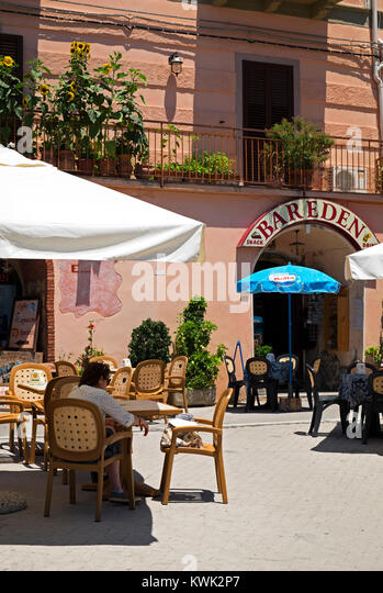 bar eden cafe in forza d'agro a mountain village near messina on the island of sicily, italy. - Stock Image