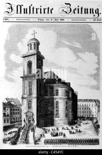 The cover of the illustrated newspaper with the Paulskirche in Frankfurt, 1948 - Stock Image