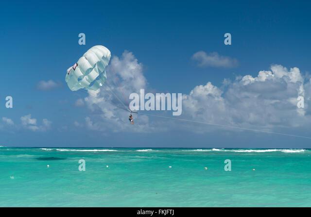Parasailing  at  Playa Bavaro, Punta Cana,  Dominican Republic, Carribean, America, - Stock Image