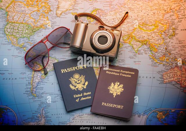 Passports to world travel - Stock-Bilder
