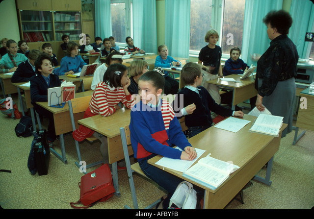 Russia former Soviet Union Moscow public school classroom age math - Stock Image