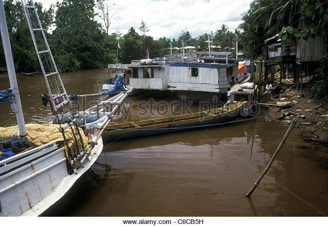 River port at Pomako, outside Timika, West Papua (Irian Jaya), Indonesia - Stock Image