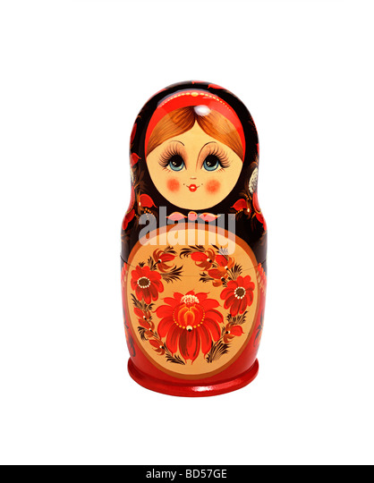 Russian doll on white background - Stock-Bilder