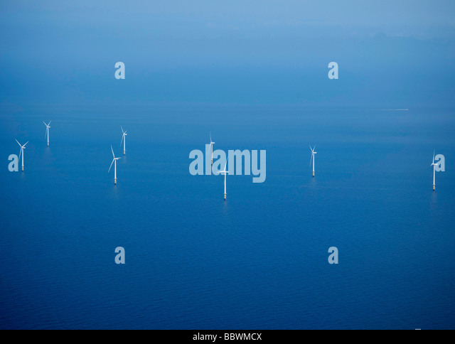 Offshore Wind Farm, Mersey Estuary, off Liverpool, North West England - Stock Image