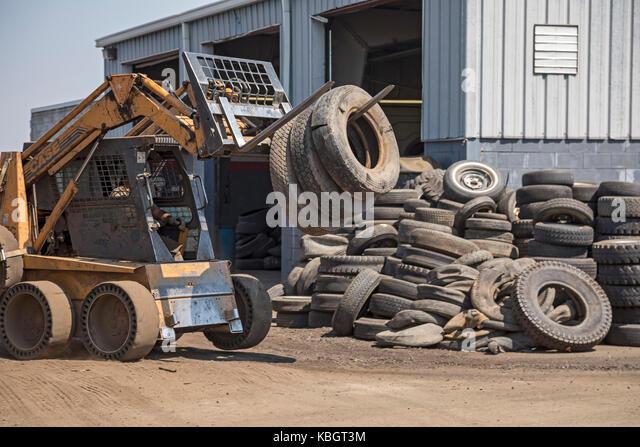 Denver, Colorado - Used tires at Colorado Tire Recycling. - Stock Image