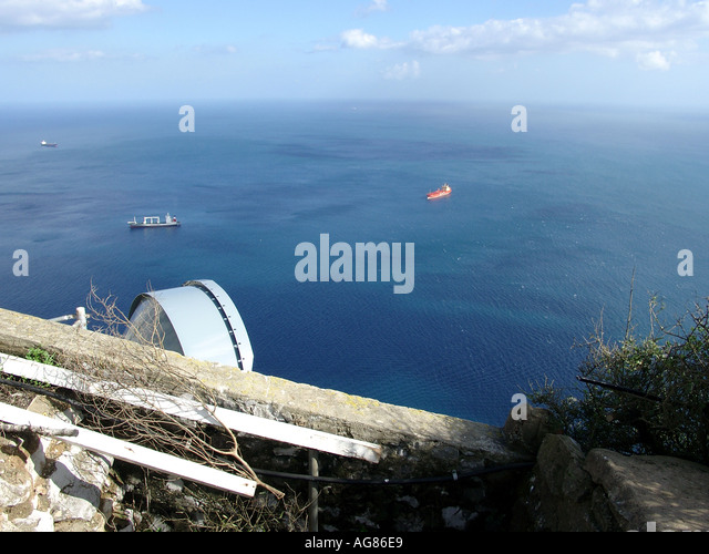 Gibraltar Marina and Harbour Viewed from Upper Rock Nature Reserve   harbour harbor boats ships shipping tankers - Stock Image