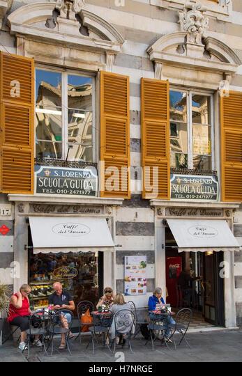 Street in the historic center. Old Twon. Genoa. Mediterranean Sea. Liguria, Italy Europe - Stock Image