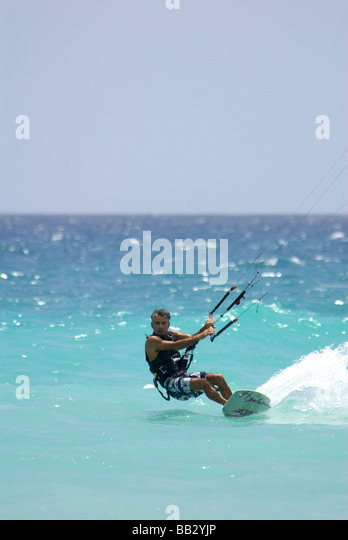 Dominican Republic, Bayahibe, Viva Wyndham Dominicus Beach, Kite Boarding - Stock Image
