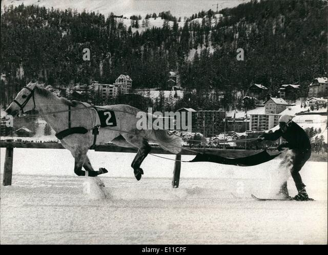 Feb. 02, 1977 - Micture of Horses-race and Ski-race: As every year this weekend at the famous swiss winter-sport - Stock Image