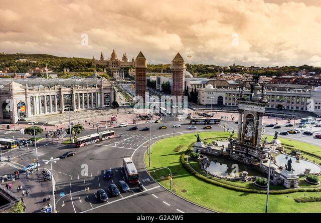 Placa Espanya in Barcelona and National Palace - Stock Image