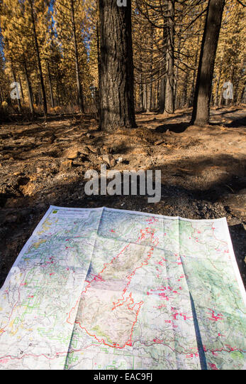 A map showing the area destroyed by the King Fire that burned 97,717 acres of the El Dorado National Forest in California, - Stock Image
