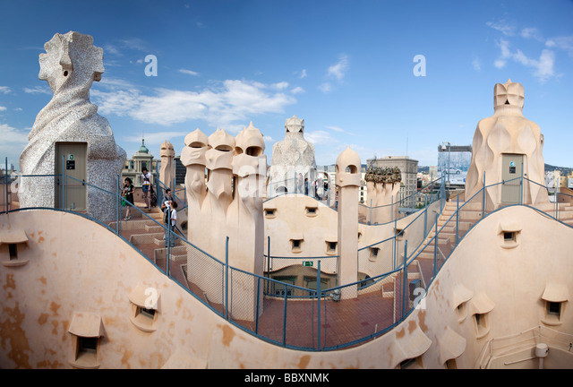 Chimneys on Casa Mila by Antoni Gaudi Barcelona Spain - Stock-Bilder