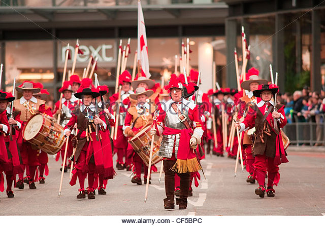 Pikemen and Musketeers of the Honourable Artillery Company in the procession at the Lord Mayor's Show in the - Stock Image