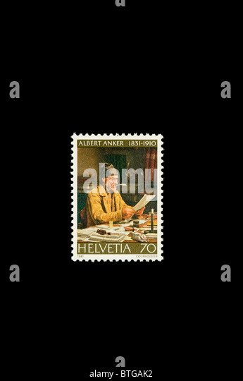 Albert Samuel Anker,  Swiss painter and illustrator, in a Swiss stamp - Stock Image