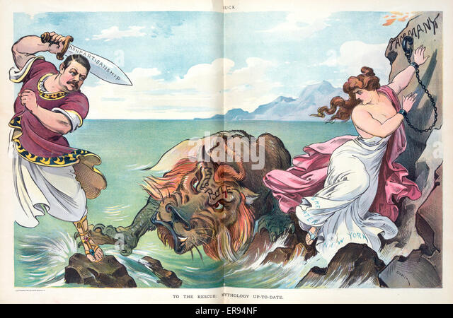 To the rescue; mythology up-to-date. Illustration shows Seth Low, possibly as Odysseus, with raised sword labeled - Stock Image