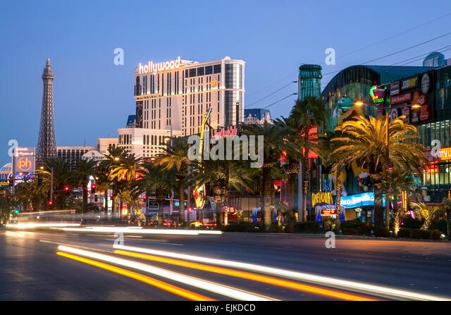 The Strip and light streaks, Las Vegas, Nevada USA - Stock Image