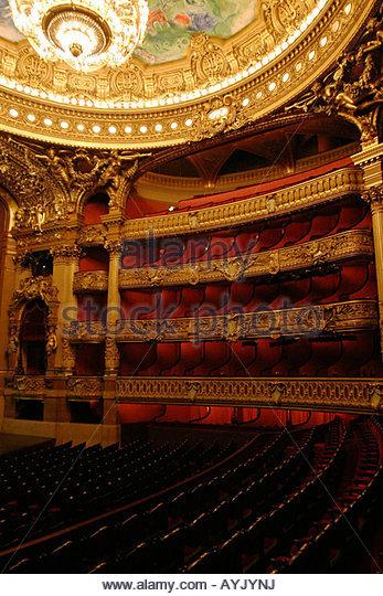 Performance hall of the Opera National de Paris, France - Stock Image