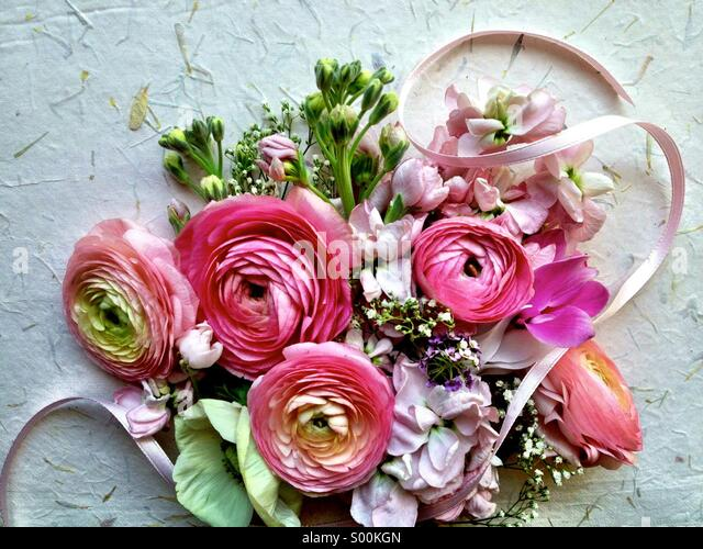 Mixed pastel spring flowers - Stock Image