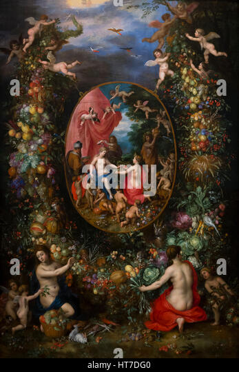 Garland of Fruit surrounding a Depiction of Cybele, by Jan Brueghel the Elder and Hendrick van Balen, circa 1620, - Stock Image
