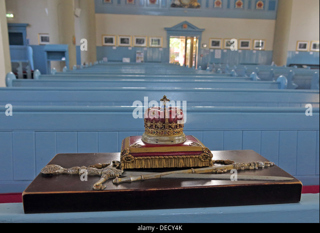 Crown on cushion at Canongate Kirk Church Edinburgh Royal Mile, Scotland, UK Interior - Stock Image