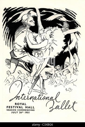 The International Ballet Advertisement from The Festival of Britain souvenir programme for the The Royal Festival - Stock-Bilder