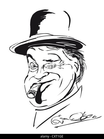 Caricature of Egon Olsen by the illustrator Torsten Becker - Stock Image