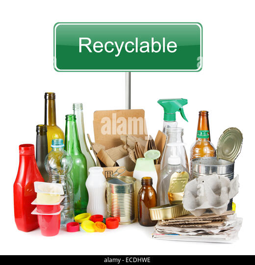 A selection of garbage for recycling. Segregated metal, plastic, paper and glass on white background - Stock Image