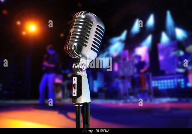 Vintage microphone at concert - Stock Image