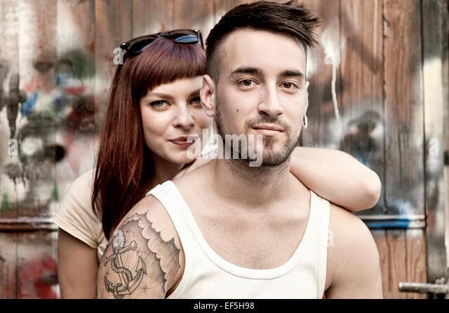 Portrait of happy young couple - Stock-Bilder