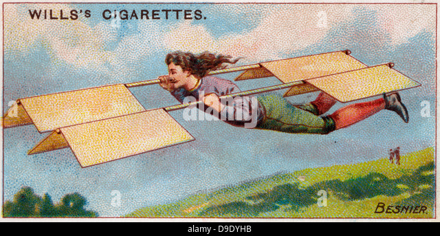 Aviation, 1910: French locksmith Besnier's attempt at flight, 1678. - Stock Image