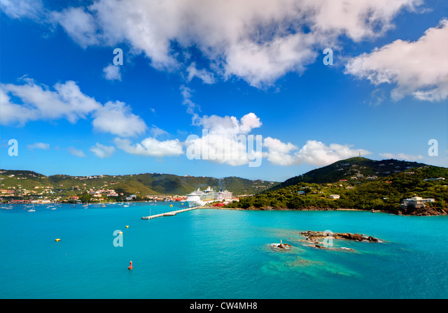 Coast of Charlotte Amalie in St. Thomas, U.S. Virgin Islands. - Stock Image