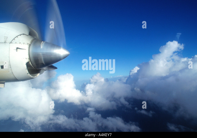 Plane propeller, in the air - Stock Image