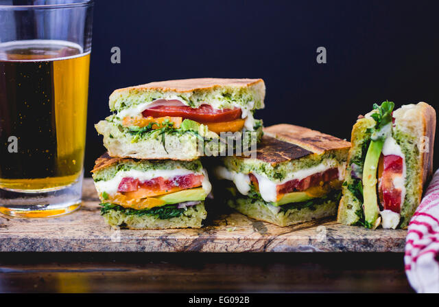 Panini and beer lunch - Stock Image