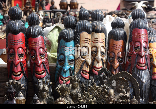 Wooden carvings stock photos
