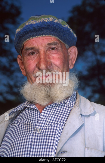 Russia former Soviet Union Uglich man with beard lives near Uglich Kremlin - Stock Image