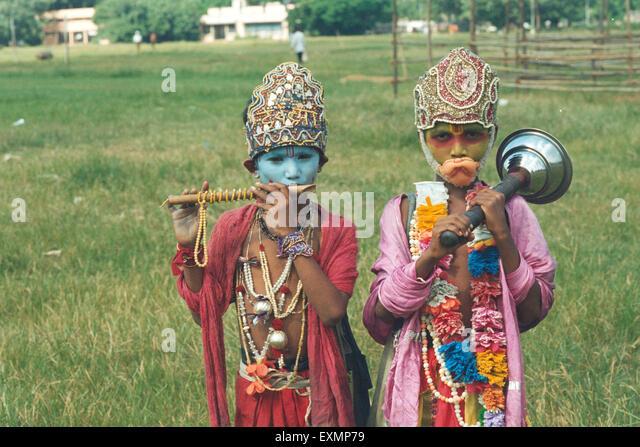 mahabharat krishna bheem fancy dress characters mumbai India - Stock Image