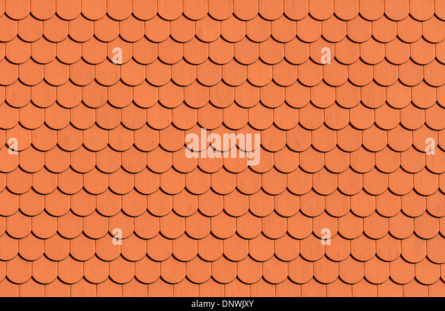 Red roof tile pattern (close up) - Stock Image