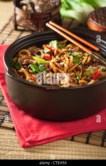 Shanghai beef noodles Chinese food - Stock Image