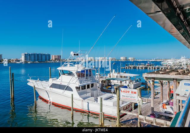 The Lady EM, part of the Destin Florida fishing fleet, famous for providing numerous restaurants and businesses - Stock Image
