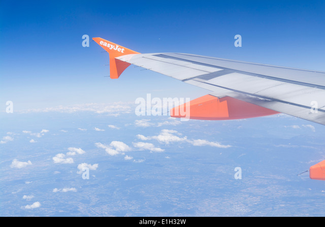 Winglet Sharklet retro fitted on Easyjet plane wing - Stock Image