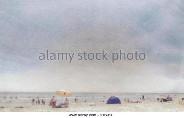 People at the beach in summer' - Stock Image